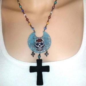 Sugar Skull Necklace on Millefiori Lampwork Chain